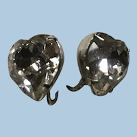 Lovely Eisenberg Heart Shaped Faceted Crystal Clip Earrings in Silver Tone Setting