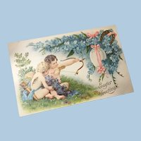 Early Embossed Unused Easter Postcard Cherubs, Gold Gilt Bow and Arrow, Horseshoe, Egg, Cupid