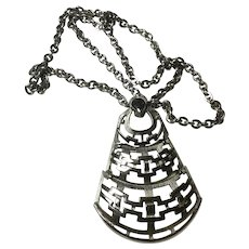 Vintage Napier Silver Tone Necklace with Large Articulated Bell Shaped Pendant