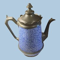 Amazing Cobalt White Sponge Relish Graniteware and Pewter Enameled Coffee Pot,  Copper Bottom