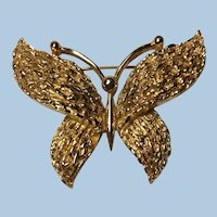 Crown Trifari Florentine and Shiny Textured Finish Butterfly Large Size