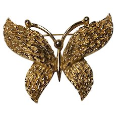 Trifari Crown Florentine and Shiny Textured Finish Butterfly Large Size