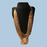 Joan Rivers Multi Strands Torsade Necklace Hundreds of Glass Beads Gold Tone Findings