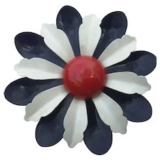 Extra Large Enameled Flower Power Brooch Patriotic Red, White and Blue Metal