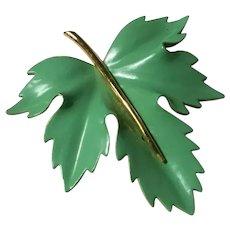 Heavy Enameled Green Maple Leaf Brooch with Gold Enameled Stem Florentine Back