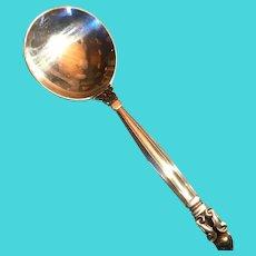 Antique 1915 George Jensen Denmark Sterling Acorn Round Bowl Soup Bouillon Spoons 12 Available
