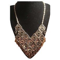 Sarah Coventry Filigree Bib Necklace Egyptian Revival Style Diamond Dangles