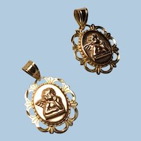 14K Yellow and Rose Gold Reticulated Angel Cherub Charm Pendant  2 Available