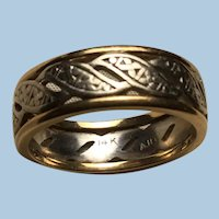 14 Karat White and Yellow Gold Hugs and Kisses Wedding Band Ring