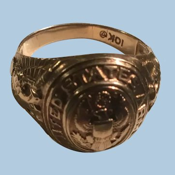 10K United States Army Military Mens Signet Ring American Eagle Shield 3 Star