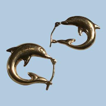 14K Yellow Gold Dolphin Nautical Pierced Hoop Earrings Dainty Size
