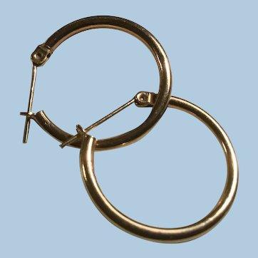 Vintage 14 Karat Yellow Gold Hoop Earrings Top Locking Post IL Estate