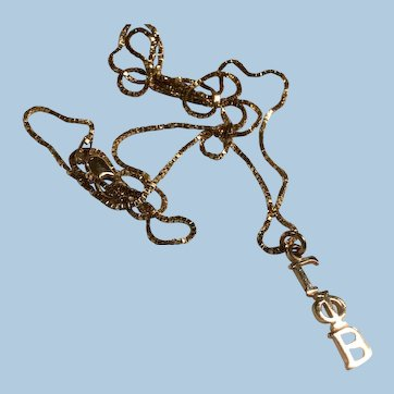 14 Karat Yellow Gold Gamma Phi Beta Sorority Lavaliere Necklace Greek Symbols