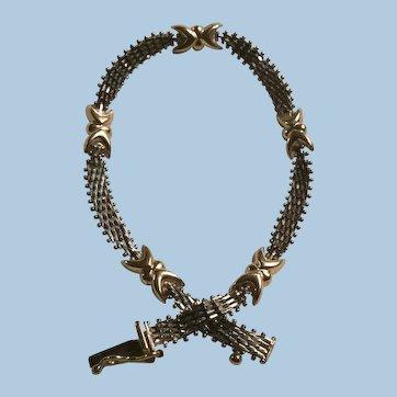 10 Karat Mexico White and Yellow Gold Bracelet Feminine Design IL Estate