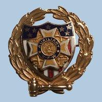 10 Karat Yellow Gold Enamel Veterans Foreign Wars Auxiliary Pin Gavel, Shield, Flag Crest