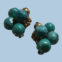Hattie Carnegie Faux Marbled Turquoise and Gold Ball Cluster Clip Earrings