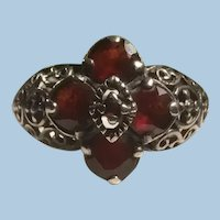 Sterling Silver Filigree Diamond Shaped Garnet Setting Ring Crosses Hearts KY Estate