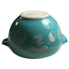 Hard to Find Pyrex Hot Air Balloons Dip Bowl Turquoise White 1 1/2 Pint