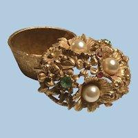 Ornate Ormolu Style Florenza Vanity Trinket Box Flowers Faux Pearls, Rhinestones Jeweled Lid