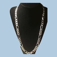 79.5 Grams Sterling Silver Figaro 24 Inch Chain Made in Italy