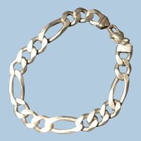 Men's 39.8 Grams Heavy Solid Sterling Silver Figaro Chain Bracelet 925 Italy