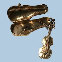Articulated  14 Karat Yellow Gold Mechanical Viola Violin in Case with Bow