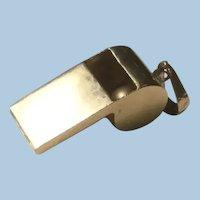 14 Karat Yellow Gold Signed Mechanical Whistle Charm Pendant