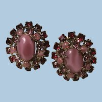 Pat. Pending Pink and Red Cabochon Rhinestone Clip Earrings