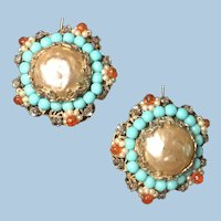 Large Vintage Judith McCann Wingback Faux Pearl, Turquoise, Coral Rhinestone Earrings Patent Mark