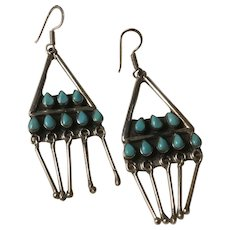 Signed Native American Zuni Turquoise Sterling Silver Dangle Wire Earrings
