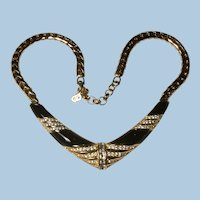 Sparkling Christian Dior Black Enamel Rhinestones Collar Necklace Wide Serpentine Chain