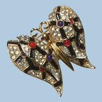 Rhinestone, Enamel, Cabochon Dimensional Flying Butterfly Pin Brooch