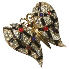 Rhinestone, Enamel, Cabochon Dimensional Flying Butterfly Pin Brooch