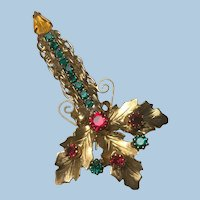 Tall Vintage Christmas Candle Pin/Brooch Rhinestones, Scroll Wire Work, Gold Leaf