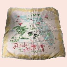 Vintage Rayon and Silk Florida Scarf Hand Rolled Japan Pink Flamingos