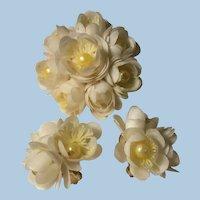 Hong Kong Rosettes Plastic Celluloid Faux Pearl Flower Brooch Earrings