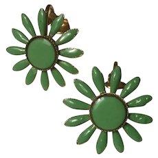 Lime Green Enamel Daisy Flower Earrings Clip Ons