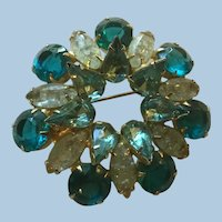 Gorgeous Turquoise Chatons, Marquise and Pear Shaped Cabochons Rhinestones Circle Brooch