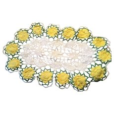 Vintage Large Oval Yellow, Green, White Crocheted Oval Doily