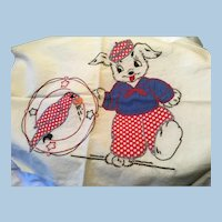 Embroidered Dog and Parrot Pillow Top Cover Unfinished Polka Dots