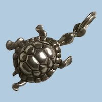 Sterling Silver Figural Turtle on the Move Charm Textured Back