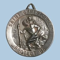 Large Personalized Sterling Silver Saint Christopher Protect Us Medal Pendant 1968,  9.8 Grams