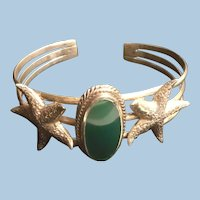 Sterling Silver Textured Starfish and Large Oval Green Stone Cuff Bracelet