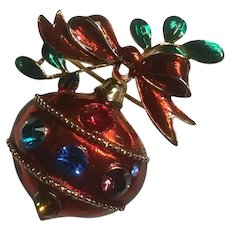 Red, Green, Gold Enameled Christmas Ornament Pin with Rhinestones Brooch