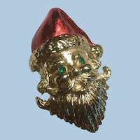 Enameled and Textured Gold Tone Santa Christmas Brooch Rhinestone Eyes