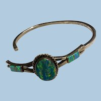 Hinged Fiery Lab Created Opal Mexico Silver Inlay Bracelet Locks Securely.