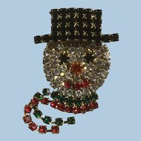 Vintage Rhinestone Covered Mechanical Snowman Christmas Winter Pin Scarf Moves