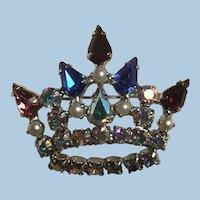 B. David Mother's Crown Brooch Colorful Teardrop Rhinestones, Faux Pearls, Aurora Borealis