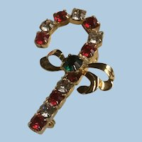 Red, White and Green Rhinestones Candy Cane Pin Brooch with Gold Tone Bow