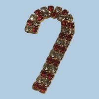 Double Row Red and Clear Rhinestones Christmas Candy Cane Pin Brooch